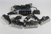 Wholesale pilot led lights - 4 sets X2 LED warning light Control Super power Strobe flash Car Working light DRL Strobe Police Fireman Caution pilot Lamp