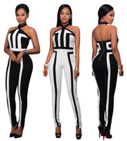 Wholesale Spandex Full Bodysuit For Women - 2017 jumpsuits for women panelled Sleeveless hanging neck print sexy stripe bodysuit women overalls bodycon sports jumpsuit print rompers