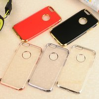 Wholesale Iphone Golden Cover - Golden Cushion Plating Electroplate Gilded Soft TPU Silicone Clear Transparent Back Cover Case Skin For iPhone 7 Plus 6 6S with Hole 10pcs