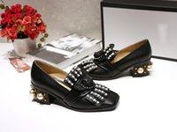 siyah platform oxfords toptan satış-Kadın Siyah Oxfords Inci Düşük tıknaz topuklu Hakiki deri Kare ayak Loafer'lar Elbise Düğün Parti Ayakkabı üzerinde Kayma