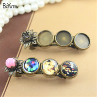 BoYuTe 5 Pieces 12MM Cabochon Base Hairpin Wholesale Античная бронзовая покрытая Vintage Fashion Diy Hair Clips