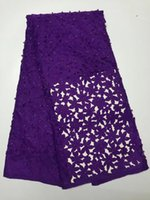 Wholesale Tulle Material For Dresses Wholesale - 2017 High Quality African Lace Fabric polyester silk Materials French lace with beads & stones Nigerian Tulle Lace Fabric For Dress
