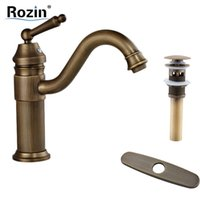 Wholesale Long Basin Tap - Wholesale- Free Shipping Long Spout Bathroom Faucet Single Handle Brass Antique Style Basin Vessel Sink Mixer Taps