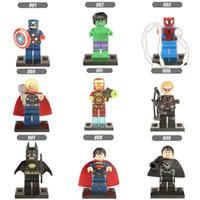 Wholesale Ironman Toys Figures - 108pcs Mix Order Super Heroes Minifig The Avengers Spiderman Ironman Batmat Superman Hulk Thor Hawkeye Figures Building Blocks Figure Toy