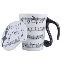 Wholesale Music Musicians - Creative Ceramic Musician Coffee Mug Tea Cup with Lid Music Notes as Valentine's Day Gift Teacher Gifts