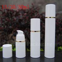 Wholesale Gold Cosmetics Skin Care - Wholesale- Empty White Airless Lotion Cream Pump Plastic Container ,Travel Cosmetic Skin Care Cosmetic Bottle Airless Dispenser Gold Strip