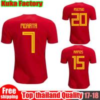Wholesale Wholesalers Spain - FREE DHL 2018 World Cup Spain Soccer Jersey MORATA ISCO ASENSIO RAMOS SILVA TORRES A.INIESTA FABREGAS Football uniforms Wholesales Jerseys