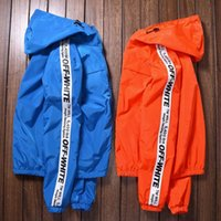 Wholesale KANYESpring and Autumn leisure jacket off white solid color European and American tide brand hooded jacket