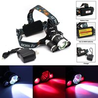 Wholesale Bicycle Torch Rechargeable - BORUIT 6000LM 3x XM-L T6 White+2R5 Red LED Bicycle Head Light Headlight Headlamp Torch 2*18650 Rechargeable battery +Charger