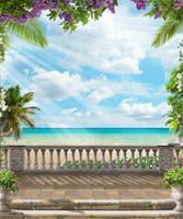 mavi çiçekli ağaç toptan satış-Vinil Fotoğraf Portre Arka Plaj Mor Çiçekler Palmiye Ağacı Taş Çit Mavi Gökyüzü Beyaz Bulut Sunshine Scenic Fotoğraf Arka Planında