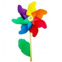 Wholesale Outdoor Baby Toys - 10pcs free shipping Baby Wind Spinner Whirligig Children Toys Wooden windmill pinwheel Party Garden Yard Decoration Outdoor Toy