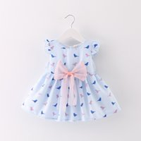 Wholesale Bird Print Chiffon - 2 color 2017 hot selling Korean style new arrival girl summer cute Abstract birds printting Big bow vest skirt free shipping