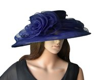 Wholesale Polyester Ascot - Navy blue Big organza hat Kentucky derby hat bridal hats for church wedding,party,melbourne cup,ascot races.