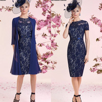 Wholesale Classy Winter Jackets - Classy Navy Lace Mother Of The Bride Dresses With Jacket Sheer Jewel Neck Mothers Dress Suit For Weddings Knee Length Mother Groom Gowns