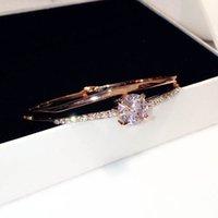 Wholesale Bracelet Cristal - Wholesale- Famous designer Arm bracelets for women luxury con cristal zodiaco Arm Bangles Double Layer Big Zircon pulseira zodiaco