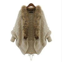 Wholesale Overcoat Poncho Jacket - Wholesale-women long cardigans 2016 Poncho Overcoats Outerwear Coat Tops Women Sweater Knitted New Brand Casual Female Jacket