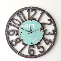 Wholesale Vintage Clock Art - Wholesale-Fashion Oversized 3D retro rustic decorative luxury art big gear wooden vintage large wall clock on the wall for giftBGZ-006