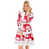 Wholesale Wholesale Net Evening Dresses - Cartoon Printing Christmas Party Evening Vestidos Autumn Women Casual Pleated Dresses Long Sleeve Nets Yarn Patchwork Dress