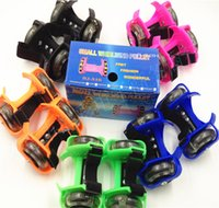 Wholesale Wholesale Shoes Wheels - Small Whirlwind Pulley Sporting Lighted Flashing Wheels Heel Skate Rollers Skates Wheeled Shoes Skate Scooters Roller