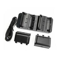 xbox bir şarj edilebilir toptan satış-Çift USB Şarj İstasyonu Dock Gamepad Wirless XBox One / Xbox One S Kablosuz Şarj Edilebilir 2 ile Şarj Edilebilir Piller