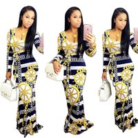 Wholesale Empire Waist Square Neck - New Popular Women Sexy Digital Print Longo Dress Long Sleeve Empire Slim Waist Bohemian Style Fashion Party Club