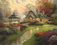 Wholesale Modern Floral Art Paintings - Make a Wish Cottage Thomas Kinkade Oil Paintings Art Wall Modern HD Print On Canvas Decoration No Frame