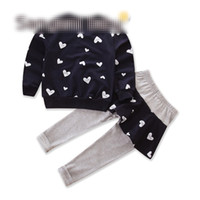 Wholesale 18 month girl sweater - Girls love long sleeved sweater +culotte 2 pcs suit suit girls cloth 3-8T Clothing Sets