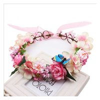 Wholesale Holiday Photography - Girls garlands Flower Butterfly brider Children garlands travel holiday garlands photography hair accessories beach Wedding headband C497
