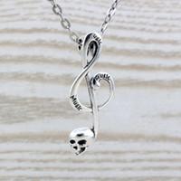 cadena de notas musicales al por mayor-MIC 20pcs / lot aleación de plata antigua Cráneo nota musical encanto colgante collares 20 pulgadas cadenas 39x15mm c24