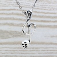 Wholesale Musical Note Necklace Silver - MIC 20pcs lot Antique Silver alloy Skull musical note charm Pendant Necklaces 20 inches Chains 39x15mm c24