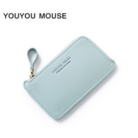 YOUYOU MOUSE Fashion New Style Femmes Portefeuilles Casual Solid Color Grande capacité Purse Haute qualité PU Leather Zipper Small Wallet