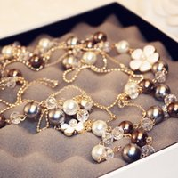 Wholesale Double C Charms Wholesale - 3-layers luxury crystal Simulated-Pearls Sweater Chain Necklace Flower Camellia Layered Choker Collares Double C jewelry