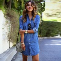 Wholesale Everyday Women Dresses - 2017 New Women Denim Dress Long Sleeve Jean Shirt Dresses Spring Autumn Loose Everyday Shift Dress Plus Size HOG0601