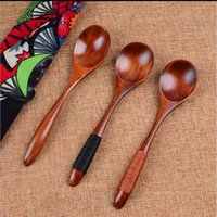 Wholesale Japanese Spoons Wholesale - Japanese Style Large Wooden Spoons Food Safety Wood Spoons with Kinking for Soup Rice Cereal Wooden Cutlery Utensil