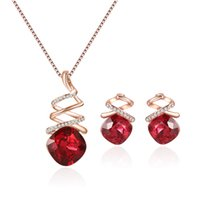 Wholesale bridal earrings red for sale - Group buy Bridal Necklace Earrings Jewelry Set Fashion Alloy jewelry Top Quality Red Color Min Order SETS