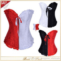Wholesale Cheap Womens Lingerie - HOT SALE S-6XL Womens Lace Corsets Black White Red Embroidery Corset Cheap Zipper Front Overbust Sexy Bustier With Lingerie