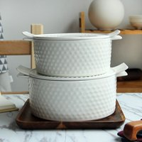 Wholesale The soup bowl large ears relief household ceramic soup with a lid with ear microwave ceramic tableware bowl