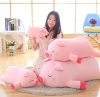 Pop Lovely 100cm Large Soft Cartoon Lying Pig Push Oreiller 39 '' Big Animal Pigs Stuffed Doll Toy Kids Gift