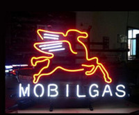 """Wholesale gas signs - MOBILGAS OIL Neon Sign Lighting Real Glass Tube Custom Handmade Pub Gas Store Shop Station Advertisement Display Neon Signs 17""""X14"""""""