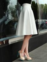 Wholesale Flared Skirt High Waist - High Waist Pleat Elegant Skirt Green Black White Knee-Length Flared Skirts Fashion Women Faldas Saia 5XL Plus Size Ladies Jupe