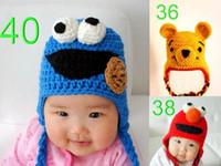 baby-winter-cap-designs großhandel-Baby häkeln hut strickmütze winter beanie sesamstraße elmo muster kinder tier design headwear junge mädchen kid säuglingskleinkind baumwolle hut