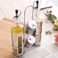Wholesale Plane Oil - Kitchen supplies glass oil bottles sealed soy sauce bottles vinegar bottles leak - proof pots seasoning sets of stainless steel with planes