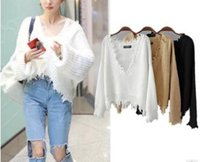 Wholesale Knit Fringed - Women's sweaters 2017 autumn new V-neck sweater Long Sleeve Tees Knitted Sweater pullover fringed leisure Loose Crop Top Women's Knits
