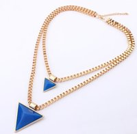 Wholesale Triangle Pendant Lighting - Fashion 2 Rows Triangle Pendant Necklaces For Women Fashion 18K Gold Plating Box Chain Necklaces Black Ivory Light Blue Color 5pcs Necklaces