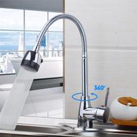 Wholesale Basin Mixer Taps Swivel Spout - Wholesale- YANKSMART Flexible Chrome Brass Kitchen Faucet Swivel Spout Basin Sink Tap Deck Mounted Single Hole Faucets Mixer Tap
