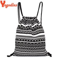 Wholesale Tribal Phone - Wholesale- 2017 Women Vintage Backpack Gypsy Bohemian Hippie Tribal Knitting Woven String Backpack Female Autumn Boho Drawstring Sack Bag