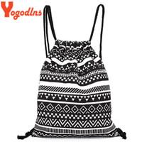 Wholesale Tribal Phone - Wholesale- 2017 Women Vintage Backpack Gypsy Bohemian Hippie Tribal Knitting Woven String Backpack Female Autumn Boho Drawstring Sack Bag
