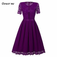 Wholesale Floral Dress Material - New Arrival Hot Sales Fashion Europe America Style Lace stitching Dress Polyester Fiber material Summer Dress Women Clothing YN027