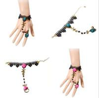 Wholesale Gothic Jewelry Wrist - 2017 Wholesale Rose Lace Bracelets & Bangles Wrist Jewelry Handmade Women Accessories Gothic Jewelry Bracelets for Women