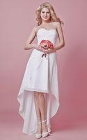 Wholesale High Low Wedding Dresses Sale - Simple Chiffon High Low Wedding Dresses Cheap 2017 Sweetheart Sleeveless Zipper Back Bridal Wedding Gowns Hot Sale